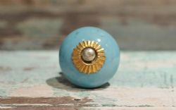 Round Shape Porcelain Door Knobs - Blue